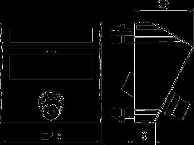 Схема Мультимедийная рамка с разъемом Video-Cinch, ширина 1 модуль, с наклонным выводом, для соединения пайкой — арт.: 6104982