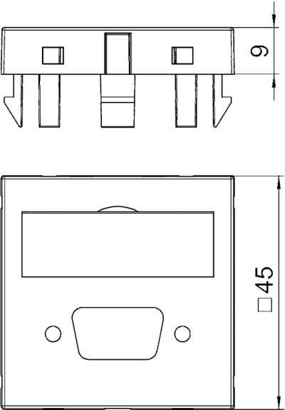 Схема Мультимедийная рамка с отверстием для штекерного разъема VGA/D-Sub9, ширина 1 модуль, с прямым выводом — арт.: 6104706
