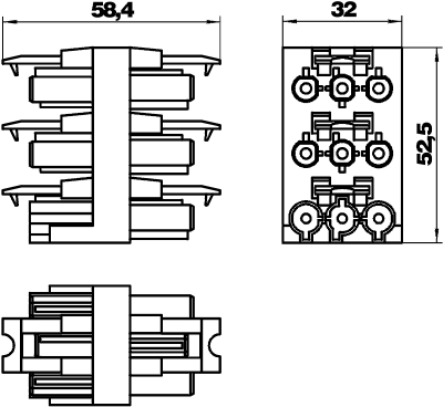 Схема Распределительный блок 3-полюсный, 1Е/5А — арт.: 6108082