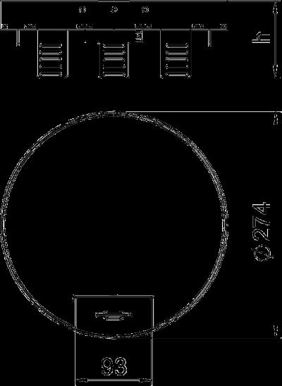 Схема Регулируемая кассетная рамка RKSRNUZD3 с кабельным выводом, из латуни — арт.: 7409292