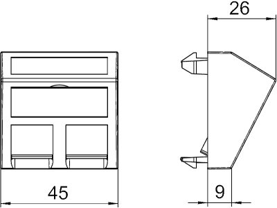 Схема Корпус компьютерной розетки, ширина 1 модуль, с наклонным выводом, тип C — арт.: 6119250