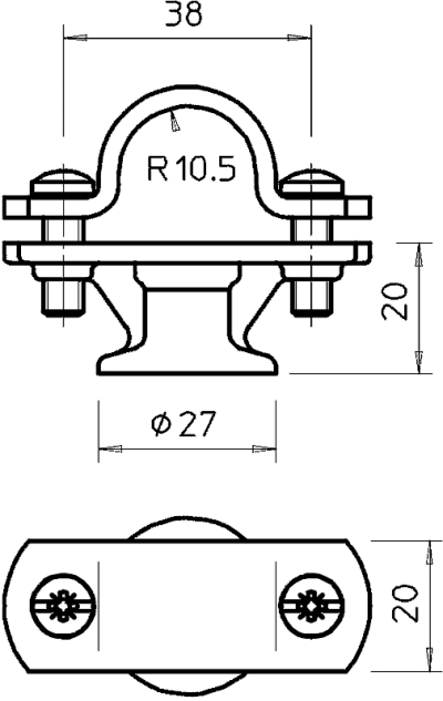 Схема Держатель для молниеприемных стержней 20 мм — арт.: 5230527