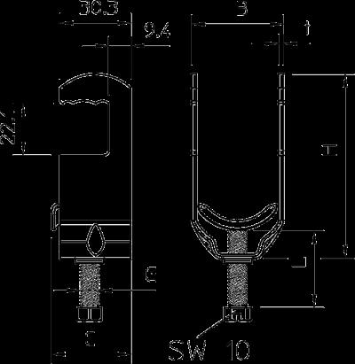 Схема Зажимная скоба для крепления круглых профилей и труб — арт.: 1158305