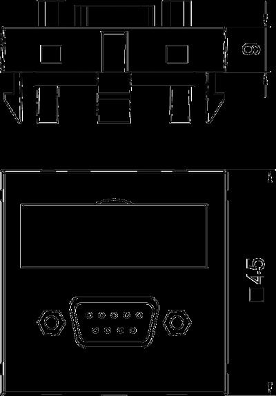 Схема Мультимедийная рамка с разъемом D-Sub9, ширина 1 модуль, с прямым выводом, для винтового соединения — арт.: 6104634