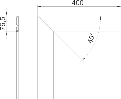 Схема Стальная крышка плоского угла с системным отверстием 80 мм — арт.: 6279860