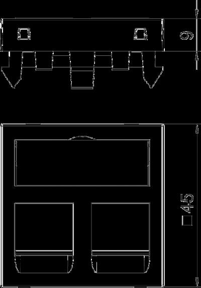 Схема Корпус компьютерной розетки, ширина 1 модуль, с прямым выводом, тип B — арт.: 6119208