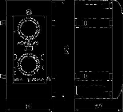 Схема Корпус Modalnet для накладного монтажа, базовая конфигурация, дополнительный модуль для двойной розетки, с отверстием для сигнальной лампы — арт.: 6109909