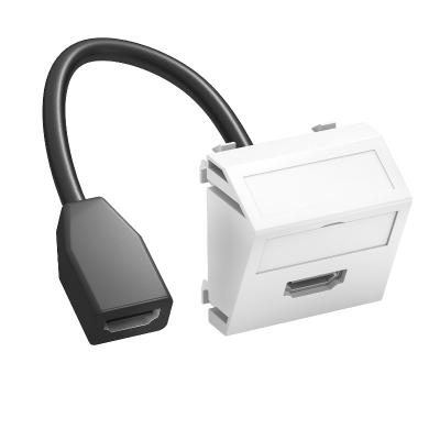 Мультимедийная рамка с разъемом HDMI, ширина 1 модуль, с наклонным выводом, с соединительным кабелем — арт.: 6104838