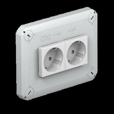 Крышка для распределительной коробки Т-100 с 2 розетками Modul-45 — арт.: 2007824