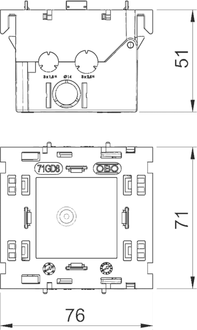 Схема Монтажная коробка одинарная, для устройств Modul 45® — арт.: 6288569