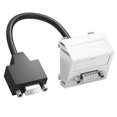 Мультимедийная рамка с разъемом D-Sub9, ширина 1 модуль, с наклонным выводом, с соединительным кабелем — арт.: 6104694