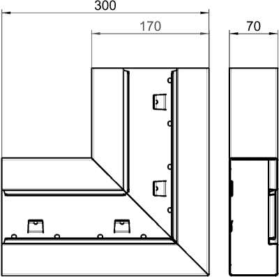 Схема Плоский угол для кабельного короба высотой 70 мм — арт.: 6277620