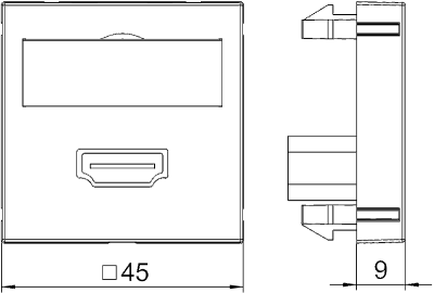 Схема Мультимедийная рамка с разъемом HDMI, ширина 1 модуль, с прямым выводом, для винтового соединения — арт.: 6104802