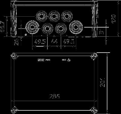Схема Распределительная коробка Т-350 со вставным уплотнителем — арт.: 2007125