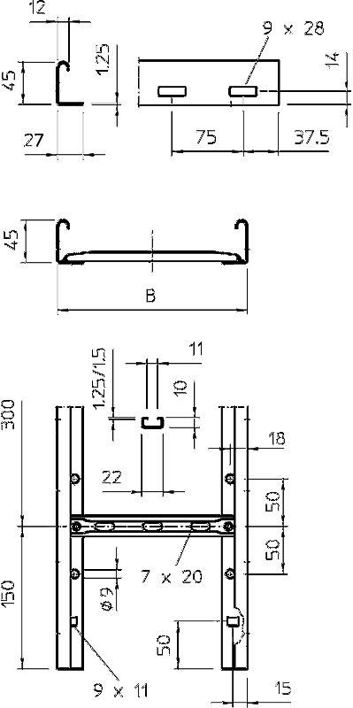 Схема Кабельный лоток LG 45 лестничного типа — арт.: 6200508