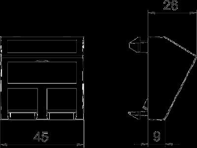 Схема Корпус компьютерной розетки, ширина 1 модуль, с наклонным выводом, тип F — арт.: 6119256