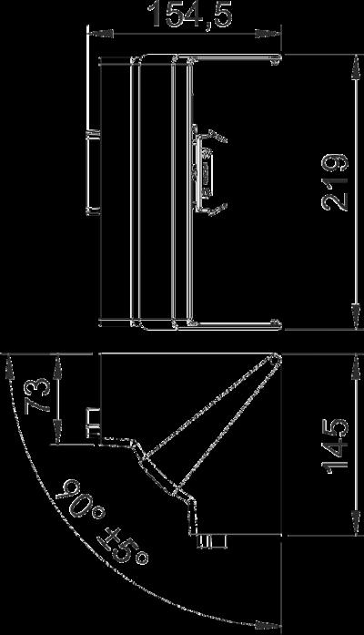 Схема Крышка внутреннего угла, регулируемая, для кабельного короба высотой 70 мм — арт.: 6273940