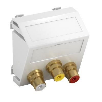Мультимедийная рамка с 3 разъемами Audio/Video-Cinch, ширина 1 модуль, с наклонным выводом, для соединения пайкой — арт.: 6105174