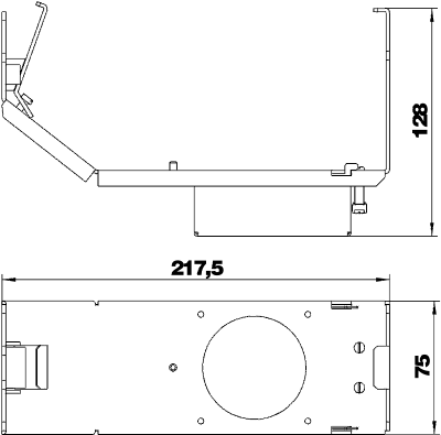 Схема Монтажная рамка для установки силовой розетки CEE, системная длина 208 мм, без розетки — арт.: 7407669