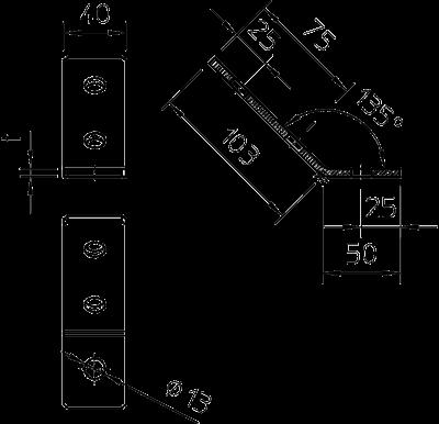 Схема Монтажный угол 45°, с 3 отверстиями — арт.: 1124627