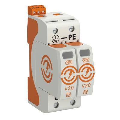 Разрядник для защиты от перенапряжений V20 2-полюсный, с дистанционной сигнализацией, 550 В — арт.: 5095312