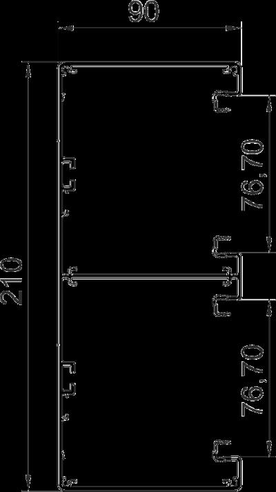 Схема Алюминиевый кабельный короб Rapid 80 высотой 90 мм — арт.: 6279603