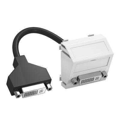 Мультимедийная рамка с разъемом DVI-D, ширина 1 модуль, с наклонным выводом, с соединительным кабелем — арт.: 6104766