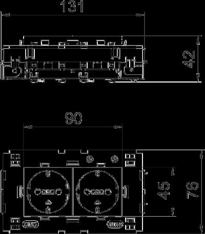 Схема Розетка 0° Connect 80 с защитным контактом, двойная — арт.: 6120432