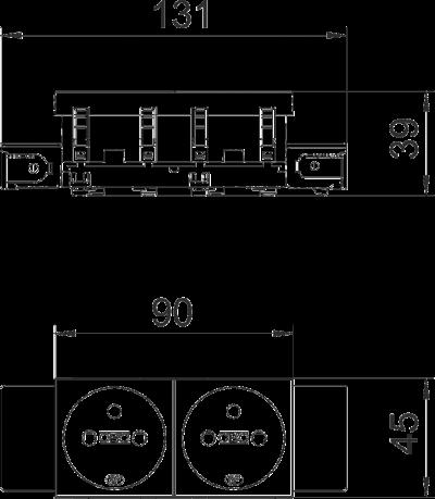 Схема Розетка 0° Connect 45 с заземляющим стержнем, двойная — арт.: 6120552