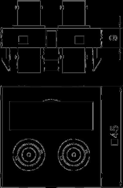 Схема Мультимедийная рамка с 2 разъемами BNC, ширина 1 модуль, с прямым выводом, для соединения 1:1 — арт.: 6105090