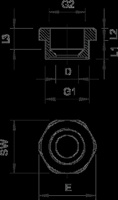 Схема Переходник с резьбой PG — арт.: 2030705