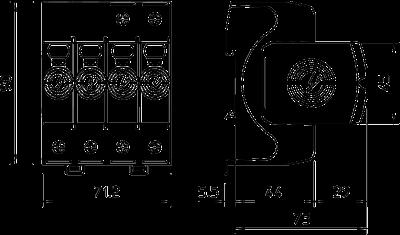 Схема Разрядник для защиты от перенапряжений V20 4-полюсный, 550 В — арт.: 5095214