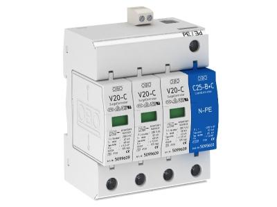 Разрядник для защиты от перенапряжений 3-полюсный + NPE, с дистанционной сигнализацией — арт.: 5094765
