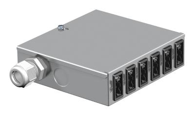 Энергораспределитель UVS с фиксированным 5-полюсным подключением, с 6 3-полюсными гнездовыми разъемами черного цвета — арт.: 6108000