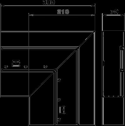 Схема Плоский угол нисходящий, для кабельного короба высотой 70 мм — арт.: 6278030