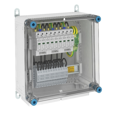 Системное решение для защиты преобразователей фотогальванических установок, в корпусе, с разрядниками типа 2, с 3 треккерами MPP, 1000 В постоянного т — арт.: 5088585