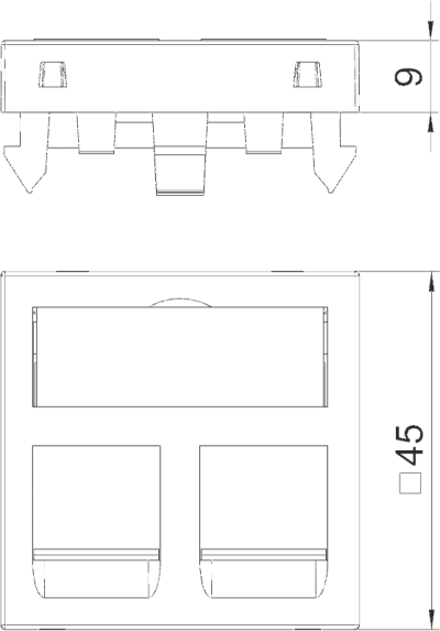 Схема Корпус компьютерной розетки, ширина 1 модуль, с прямым выводом, тип RM — арт.: 6119292
