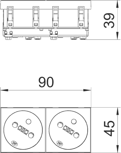 Схема Розетка 33° с заземляющим стержнем, двойная — арт.: 6120242