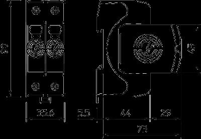 Схема Разрядник для защиты от перенапряжений V20 1-полюсный + NPE, 150 В — арт.: 5095231