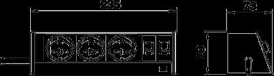 Схема Настольный бокс DB для мобильной установки, с 3 розетками и 2 разъемами RJ45 CAT 6 — арт.: 6116933
