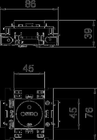 Схема Розетка 0° Connect 80 с заземляющим стержнем, одинарная — арт.: 6120602