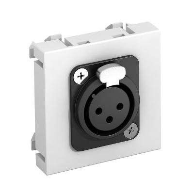 Мультимедийная рамка с 3полюсным гнездовым разъемом XLR ширина 1 модуль, с прямым выводом, для соединения пайкой — арт.: 6105210