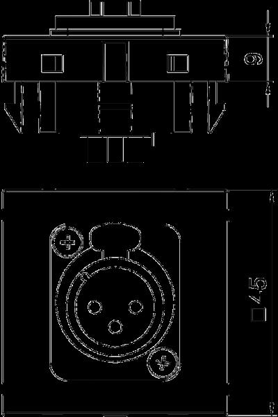 Схема Мультимедийная рамка с 3полюсным гнездовым разъемом XLR ширина 1 модуль, с прямым выводом, для соединения пайкой — арт.: 6105210