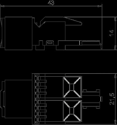 Схема Телекоммуникационный модуль RJ45, CAT. 6, неэкранированный — арт.: 6117341