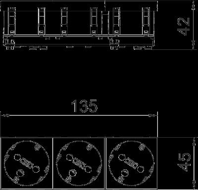 Схема Розетка 33° с защитным контактом, с кодом, тройная — арт.: 6120306