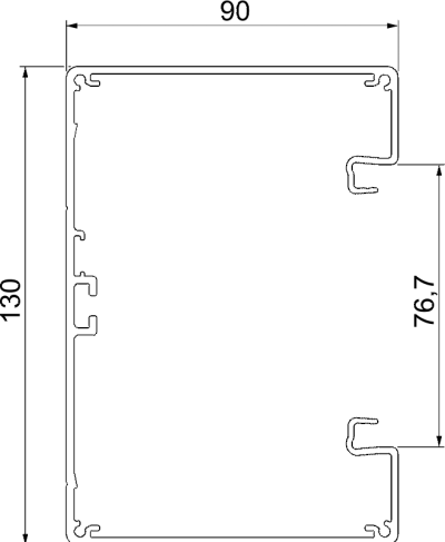 Схема Алюминиевый кабельный короб Rapid 80 высотой 90 мм — арт.: 6276903