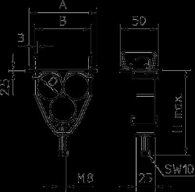 Схема Зажимная скоба с U-образной лапкой для 3-х одножильных проводов — арт.: 1174509