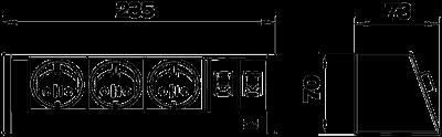 Схема Настольный бокс DB без крепления, с 3 розетками и 2 разъемами RJ45 CAT 6 — арт.: 6116945