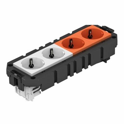 Модульная рамка MT4 с модулем защиты от перенапряжений, укомплектованная 2 двойными розетками с защитным контактом, на 2 цепи тока, длина 208 мм — арт.: 7404638