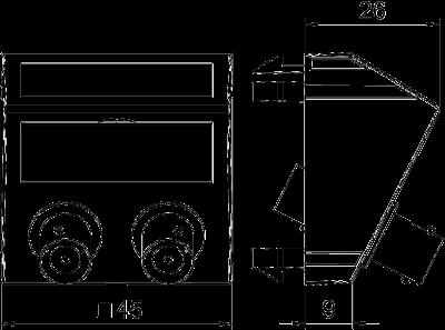 Схема Мультимедийная рамка с 2 разъемами BNC, ширина 1 модуль, с наклонным выводом, для соединения 1:1 — арт.: 6105102